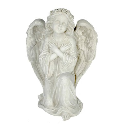 House Additions Kneeling, Devoutly Angel with Arms Crossed in Front of Chest Decorative Figure