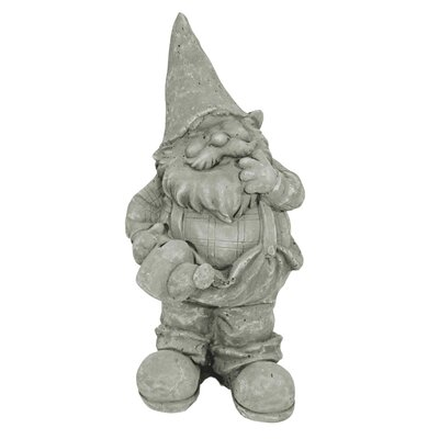 House Additions Gnome with Watering Can and Left Hand on Mouth Decorative Figure