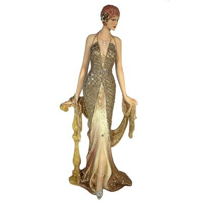 House Additions Elegant Lady from the 20s Leaning on a Railing Decorative Figure