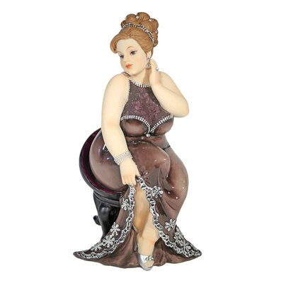 House Additions Plump Lady Sitting on Chair Decorative Figure