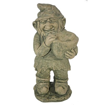 House Additions Standing Gnome with Vessel in His Hands Decorative Figure