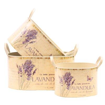 House Additions Lavender 3-Piece Round Flower Pot Set