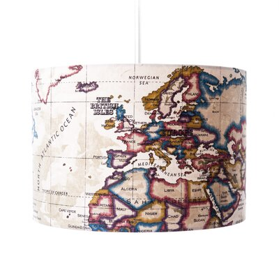 House Additions Old World Map Drum Pendant