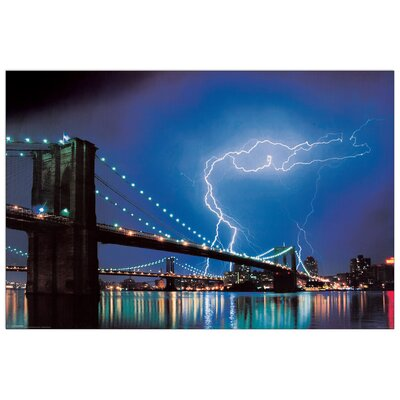 House Additions Brooklyn Bridge (Lightning)  Photographic Print Plaque