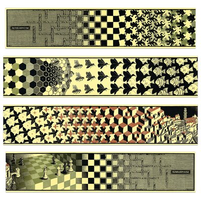 "House Additions ""Metamorphosis II, 1940"" by Escher 4 Piece Graphic Art Plaque Set"