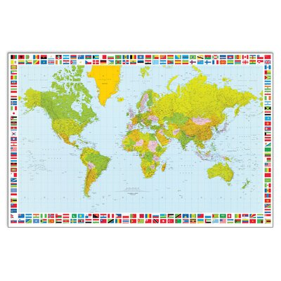 House Additions 'Map of the World' by Carta Graphic Art Plaque