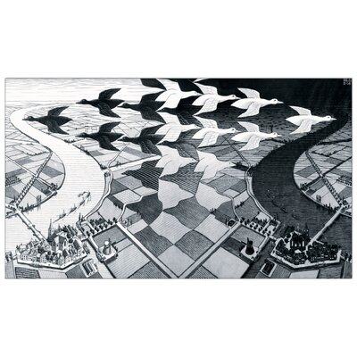 """House Additions """"Day and Night"""" by Escher Graphic Art Plaque"""