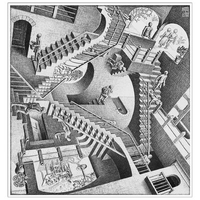 """House Additions """"Relativity, 1953"""" by Escher Graphic Art Plaque"""