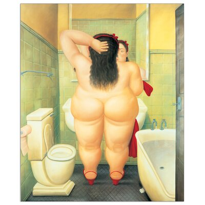 """House Additions """"The Bath"""" by Botero Art Print Plaque"""