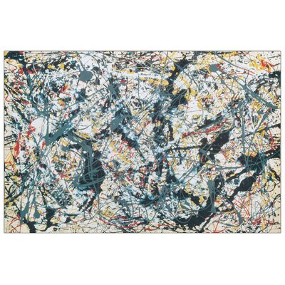 House Additions 'Silver over Black White Yellow and Red 1948' by Pollock Art Print Plaque