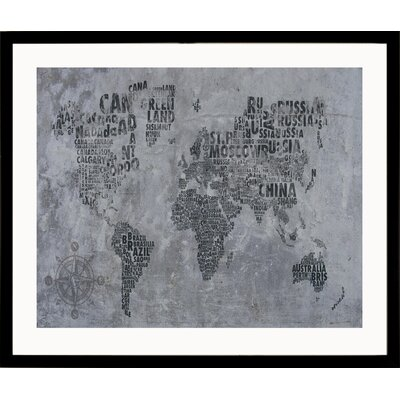 House Additions World Framed Graphic Art in Grey