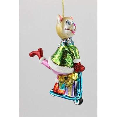 House Additions Cat on Scooter Hanging Figurine