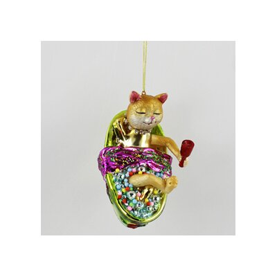 House Additions Cat in Bathtub Hanging Figurine