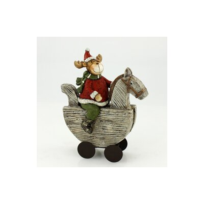 House Additions Moose on a Rocking Horse Decorative Figure