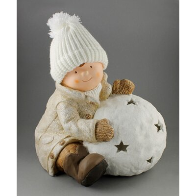 House Additions Child with Storm Lamp Ball Decorative Figure