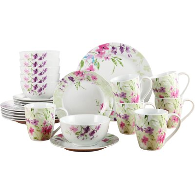 House Additions Violets 24-Piece Dinnerware Set