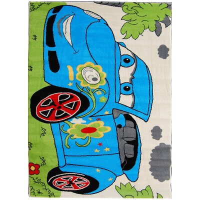 House Additions Max Blue Car Area Rug