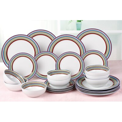 House Additions Forest Stripes 24-Piece Dinnerware Set