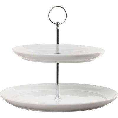 House Additions 23cm 2 Tier Porcelain Cake Stand in White
