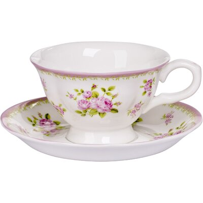 House Additions 8 Piece .22L Bone China Cup and Suacer Set in Vintage Rose