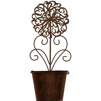 House Additions Rustic Round Pot Planter