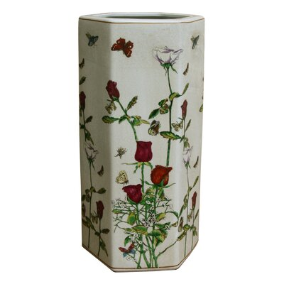 House Additions Hexagonal Roses and Butterflies Umbrella Stand