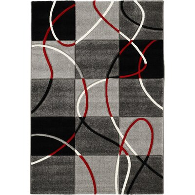 House Additions Black/Red Area Rug