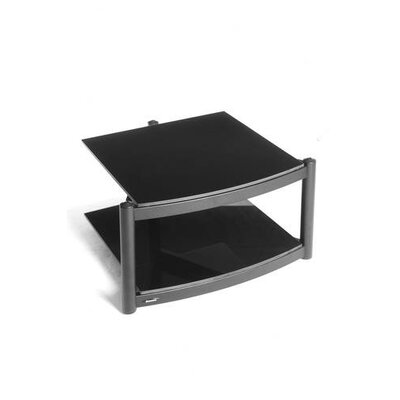 House Additions Coombe Hi Fi Modular 2 Shelf Base with ARC Glass in Polished Black