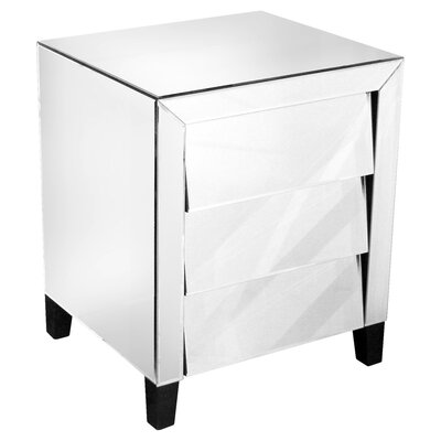 House Additions Mirrored Bedside Table