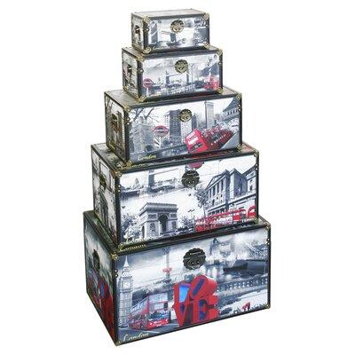 House Additions 5 Piece London City Scene Storage Box Set
