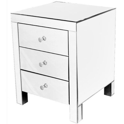 House Additions Tomba Mirrored 3 Drawer Bedside Table