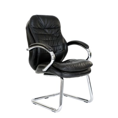 Home & Haus Medium Back Visitor Chair with Chrome Armrest