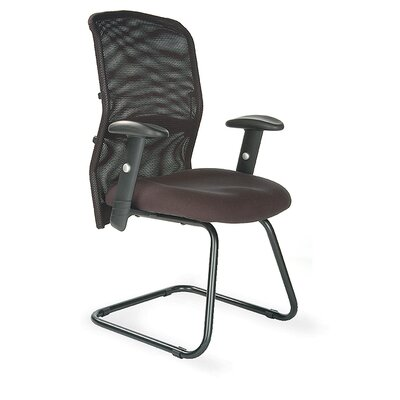 Home & Haus Mesh Back Visitor Chair with Adjustable Arm in Black
