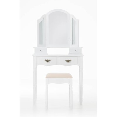 Home & Haus San Michele Dressing Table Set with Mirror