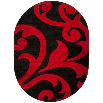 Home & Haus Garnet Black/Red Area Rug