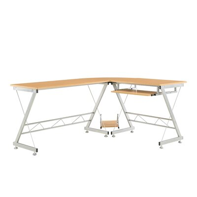 Home & Haus Corner Computer Table with Extendable Keyboard Shelf