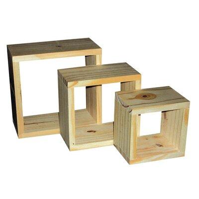 Home & Haus 3 Pine Wall Cube Shelf