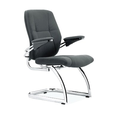 Home & Haus Luxurious Contemporary Cantilever Chrome Framed Leather Effect Visitors Armchair in Black