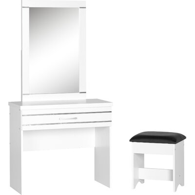 Home & Haus 1 Drawer Dressing Table Set with Mirror