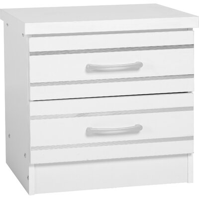 Home & Haus 2 Drawer Bedside Table