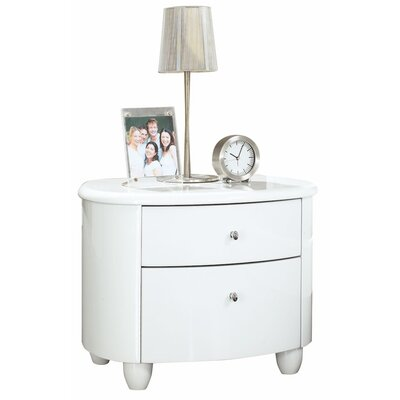 Home & Haus Borviewe 2 Drawer Bedside Table