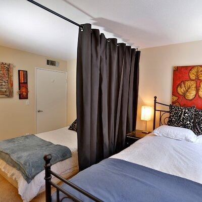 Muslin 2 Panel Room Divider Color: Black