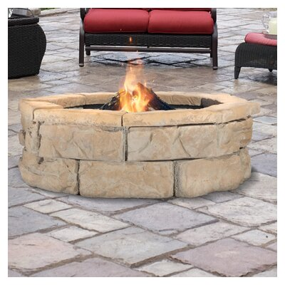 "Fossil Stone Wood Burning Fire Pit Size: 14"" H x 66"" W x 66"" D, Finish: Brown"