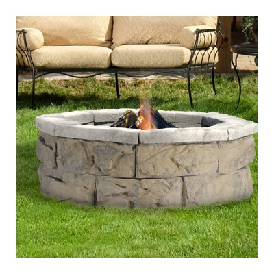 "Fossil Stone Wood Burning Fire Pit Size: 14"" H x 66"" W x 66"" D, Finish: Limestone"
