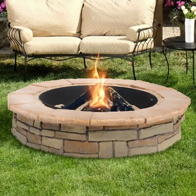 Random Stone Concrete Wood Burning Fire Pit Finish: Brown