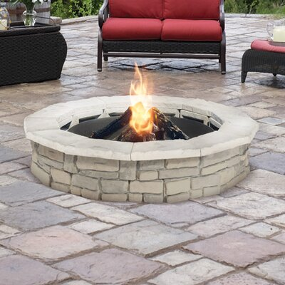 Random Stone Concrete Wood Burning Fire Pit Finish: Limestone