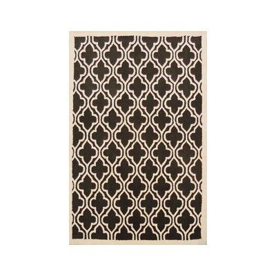 Coralie Flooring Trellis Hand-Tufted Black Area Rug