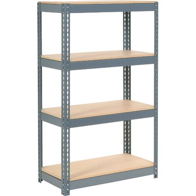 "Wood Deck Rivet Lock 4 Shelf Shelving Unit Size: 60"" H x 36"" W x 18"" D"
