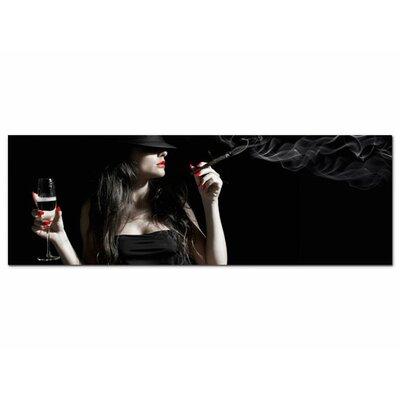 Graz Design Glasbild Frau, Sekt, Zigarre, Rauch Fotodruck