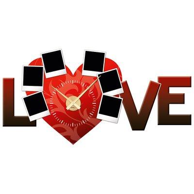 Graz Design Analoge Wanduhr Love, Liebe, Herz